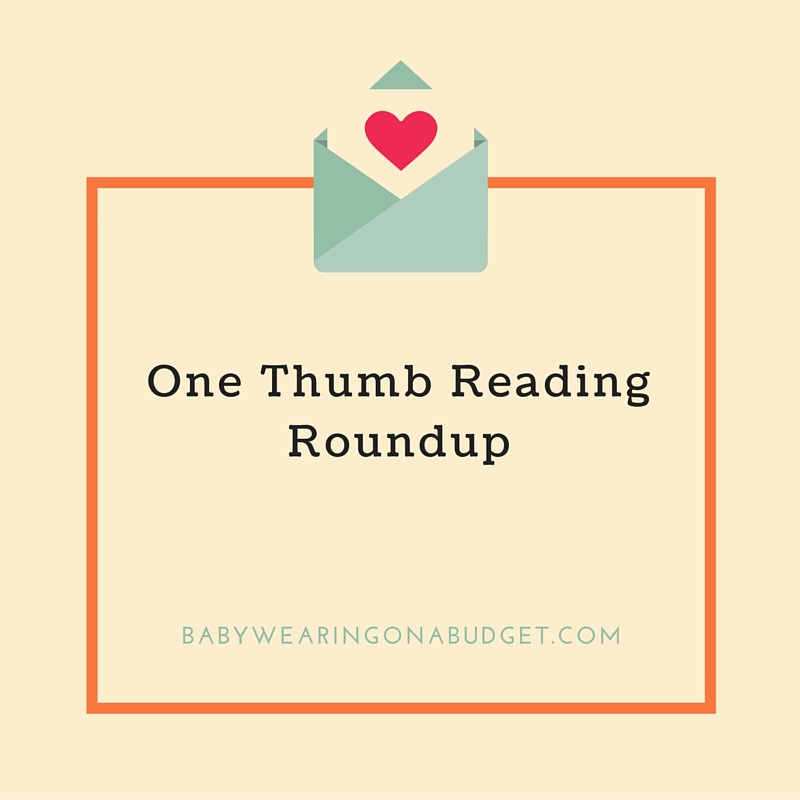 one-thumb-reading-roundup-babywearing-on-a-budget-blog-header